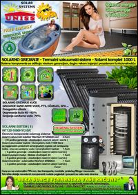 SOLARNO GREJANJE - SOLARNO GREJANJE KUĆE / Solarno grejanje sanitarne vode, grejanje vode STV - Bazena - Solarni kompleti - Oprema - Cena / Solarni vakuumski kolektori, solarni akumulatori toplote, solarni kontroleri, solarne pumpne grupe, pumpni moduli - Solarni komplet 1000 litara 120 vakuumskih cevi, solarni sistem WT120-1000HYG BR