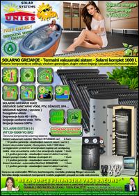 SOLARNO GREJANJE - SOLARNO GREJANJE KUĆE / Solarno grejanje sanitarne vode, grejanje vode STV - Bazena - Solarni kompleti - Oprema - Cena / Solarni vakuumski kolektori, solarni akumulatori toplote, rezervoari, solarni kontroleri, solarne pumpne grupe, pumpni moduli - Solarni komplet 1000 litara 120 vakuumskih cevi, solarni sistem WT120-1000HYG BR2