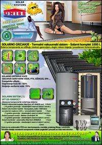 SOLARNO GREJANJE - SOLARNO GREJANJE KUĆE / Solarno grejanje sanitarne vode, grejanje vode STV - Bazena - Solarni kompleti - Oprema - Cena / Solarni vakuumski kolektori, solarni akumulatori toplote, solarni kontroleri, solarne pumpne grupe, pumpni moduli - Solarni komplet 1000 litara 120 vakuumskih cevi, solarni sistem WT120-1000KSC1