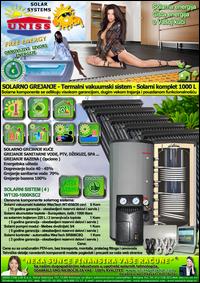SOLARNO GREJANJE - SOLARNO GREJANJE KUĆE / Solarno grejanje sanitarne vode, grejanje vode STV - Bazena - Solarni kompleti - Oprema - Cena / Solarni vakuumski kolektori, solarni akumulatori toplote, solarni kontroleri, solarne pumpne grupe, pumpni moduli - Solarni komplet 1000 litara 120 vakuumskih cevi, solarni sistem WT120-1000KSC2