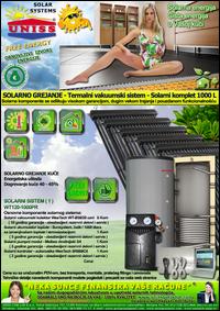 SOLARNO GREJANJE - SOLARNO GREJANJE KUĆE / Solarno grejanje sanitarne vode, grejanje vode STV - Bazena - Solarni kompleti - Oprema - Cena / Solarni vakuumski kolektori, solarni akumulatori toplote, solarni kontroleri, solarne pumpne grupe, pumpni moduli - Solarni komplet 1000 litara 120 vakuumskih cevi, solarni sistem WT120-1000PR