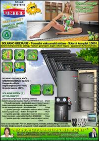 SOLARNO GREJANJE - SOLARNO GREJANJE KUĆE / Solarno grejanje sanitarne vode, grejanje vode STV - Bazena - Solarni kompleti - Oprema - Cena / Solarni vakuumski kolektori, solarni akumulatori toplote, solarni kontroleri, solarne pumpne grupe, pumpni moduli - Solarni komplet 1000 litara 120 vakuumskih cevi, solarni sistem WT120-1000PR2