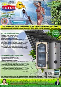 SOLARNO GREJANJE SANITARNE VODE - SOLARNO GREJANJE VODE / Solarni kompleti za toplu vodu - Solarni paneli, solarni kolektori, solarni bojleri, solarni kontroleri - Solarni komplet za toplu vodu 1000 Litara - Cena