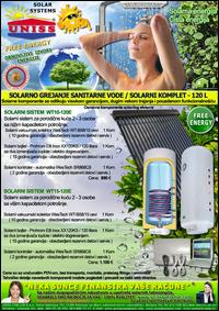 SOLARNO GREJANJE SANITARNE VODE - SOLARNO GREJANJE VODE / Solarni kompleti za toplu vodu - Solarni paneli, solarni kolektori, solarni bojleri, solarni kontroleri - Solarni komplet za toplu vodu 120 Litara - Cena