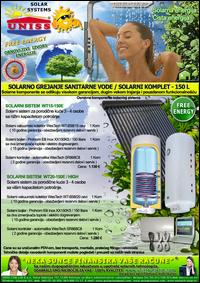 SOLARNO GREJANJE SANITARNE VODE - SOLARNO GREJANJE VODE / Solarni kompleti za toplu vodu - Solarni paneli, solarni kolektori, solarni bojleri, solarni kontroleri - Solarni komplet za toplu vodu 150 Litara - Cena