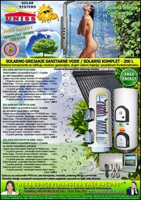 SOLARNO GREJANJE SANITARNE VODE - SOLARNO GREJANJE VODE / Solarni kompleti za toplu vodu - Solarni paneli, solarni kolektori, solarni bojleri, solarni kontroleri - Solarni komplet za toplu vodu 200 Litara - Cena