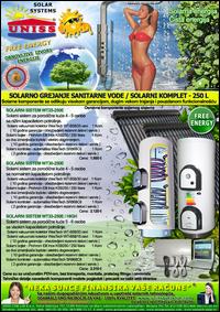 SOLARNO GREJANJE SANITARNE VODE - SOLARNO GREJANJE VODE / Solarni kompleti za toplu vodu - Solarni paneli, solarni kolektori, solarni bojleri, solarni kontroleri - Solarni komplet za toplu vodu 250 Litara - Cena