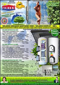 SOLARNO GREJANJE SANITARNE VODE - SOLARNO GREJANJE VODE / Solarni kompleti za toplu vodu - Solarni paneli, solarni kolektori, solarni bojleri, solarni kontroleri - Solarni komplet za toplu vodu 300 Litara - Cena