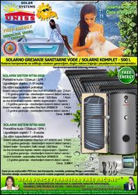 SOLARNO GREJANJE SANITARNE VODE - SOLARNO GREJANJE VODE / Solarni kompleti za toplu vodu - Solarni paneli, solarni kolektori, solarni bojleri, solarni kontroleri - Solarni komplet za toplu vodu 500 Litara - Cena
