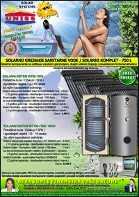 SOLARNO GREJANJE SANITARNE VODE - SOLARNO GREJANJE VODE / Solarni kompleti za toplu vodu - Solarni paneli, solarni kolektori, solarni bojleri, solarni kontroleri - Solarni komplet za toplu vodu 750 Litara - Cena